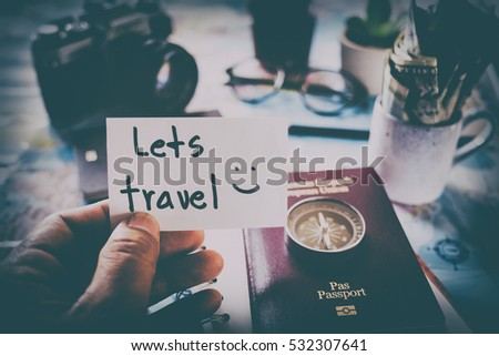 Overhead view of Traveler's accessories, Essential vacation items, Travel concept background, vintage background, love story, selective focus, save money to see the world #532307641