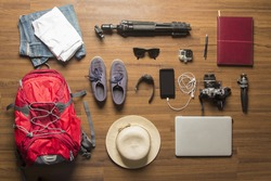 Overhead view of Traveler's accessories, Essential vacation items, Travel concept background design