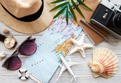 Overhead view of Traveler's accessories. Essential vacation items. Travel concept background. Flat lay