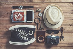 Overhead view of Traveler's accessories, Flat lay photography of Travel concept