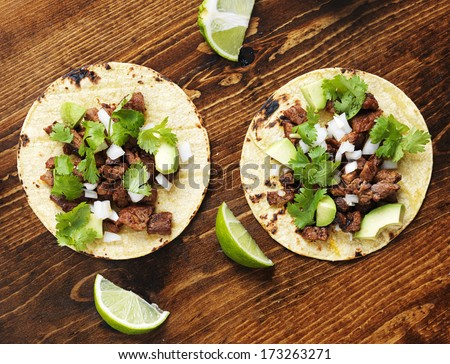 overhead view of two authentic street tacos