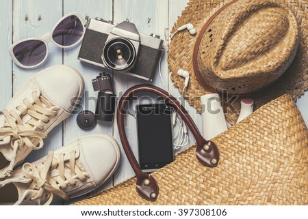 Overhead view of woman's casual outfits, Outfit of female traveler