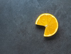 overhead view to isolated cut yellow orange like open mouth with copy space on dark background
