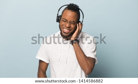 Happy Guy Enjoying Song From Headphones Images And Stock
