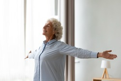 Overjoyed old woman stretch hands feel positive optimistic about new sunny day at home, excited smiling mature female relax in living room show good mood, happy elderly lifestyle concept
