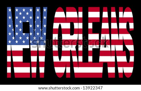 overlapping New Orleans text with American flag illustration JPG