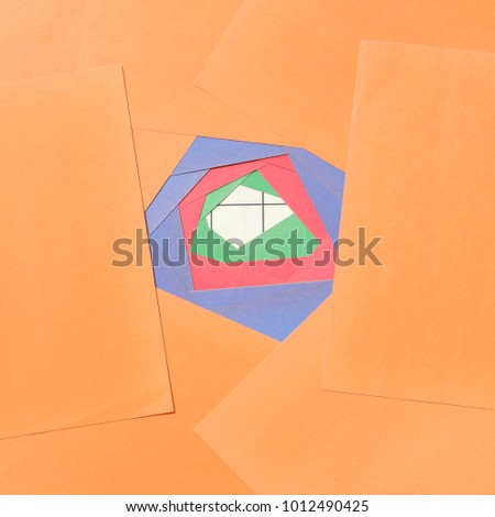 Overlapping of multicolored paper sheets, abstract concept. #1012490425