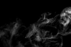 Overlay of white soft smooth smoke steam natural swirl wave from water. Effect backgrounds on isolated solid black wallpaper use for abstract pollution, wildfire, vapor, dry ice, hot food soup, mist