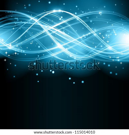 Overlaying semitransparent curved lines forming an abstract wavy pattern with light effects on a dark background. With stars and space for your text.