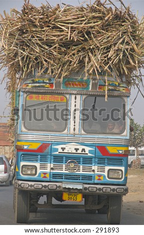 Overloaded truck in Northern India