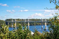 Overlook in Stillwater Minnesota in the fall looking over the St. Croix Crossing, an extradosed bridge spanning the St. Croix River