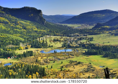 overlook over colourful mountains of Colorado during foliage season