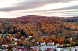 overlook small town in the fall