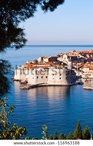 Overlooking city walls of old town of Dubrovnik, Croatia.