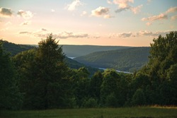Overlooking Kinzua Lake and Allegheny Reservoir from Bliss Hill, North Country Trail, Allegheny National Forest, Pennsylvania.