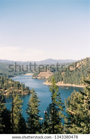 Overlooking Lake Coeur d'Alene from Lake Coeur d'Alene Scenic Byway highway 97 in Idaho. CIRCA 2017