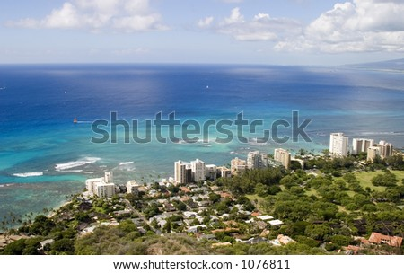 Overlooking the beautiful South Oahu coastline from the top of Diamond Head.