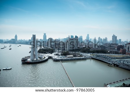 overlooking the bund and huangpu park in shanghai