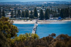 Overlooking the causeway to Granite Island, Victor Harbor, South Australia.