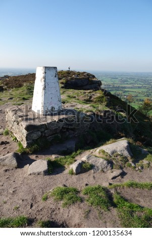 Overlooking the Cheshire plains from the trigonometry point on the Cloud, a millstone outcrop near Congleton Cheshire.