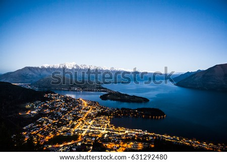 Overlooking the city of Queenstown, New Zealand #631292480