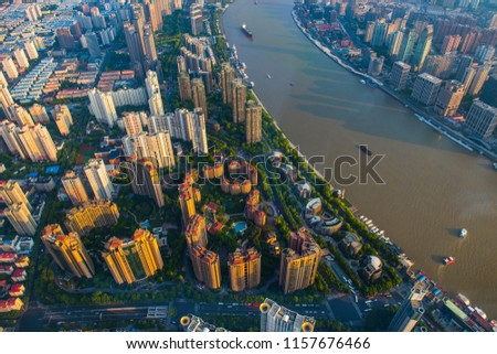 Overlooking the Huangpu River and the city. #1157676466