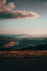 Overlooking the South Coast countryside. On top of a hill overlooking the beautiful country side in Hampshire during a sunset on a winters day.