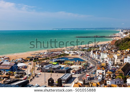 Overlooking the town of Hastings East Sussex England UK Europe #501055888