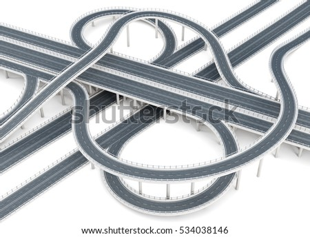 Overpass highways isolated on white background. 3d rendering.