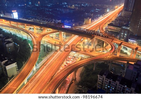 overpass in modern city at night