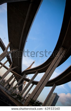 overpass on background of blue sky in Thailand.