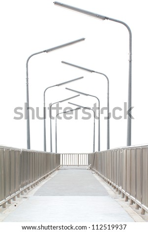 Overpass with electric poles on white background
