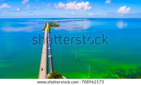 Overseas highway to Key West island, Florida Keys, USA. Aerial view beauty nature.  #708962173