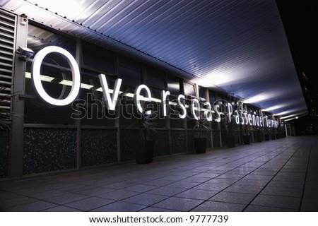 Overseas Passenger Terminal at night in Sydney, Australia.