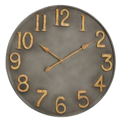 Oversized Gray 30 inch Metal Wall Clock Isolated on White. Front View Silent Quartz Clock Movement. Retro Vintage Style Timepiece with Antiqued Gold Raised Numerals on Distressed Frame. Home Decor