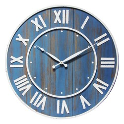 Oversized Wine Barrel 24 inch Wood Wall Clock Isolated on White. Front View Silent Quartz Clock Movement. Retro Vintage Style Timepiece with Roman Numerals on Blue Distressed Wooden Frame. Home Decor