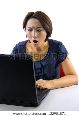 overspending. woman frustrated because accounts online are overdrawn. isolated on a white background.
