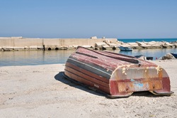 Overturned boat.