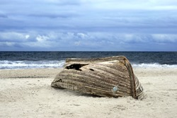 Overturned boat on beach