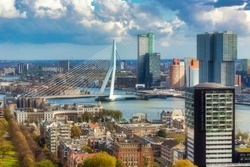 Overview for Rotterdam city from Euromast tower