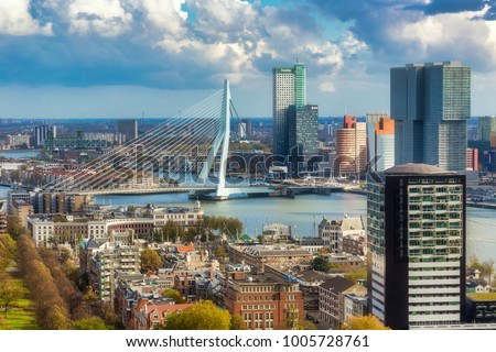 Overview for Rotterdam city from Euromast tower Stockfoto ©