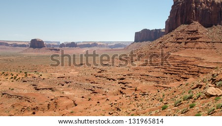 overview in Monument Valley in Utah in the United States of America