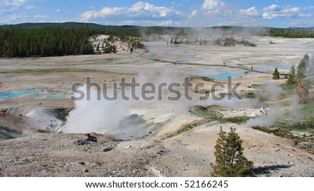Overview Norris Geyser Basin, Yellowstone National Park, Wyoming, USA