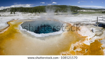 overview of a Geyser in Yellowstone National Park in Wyoming in the United States of America - stock photo