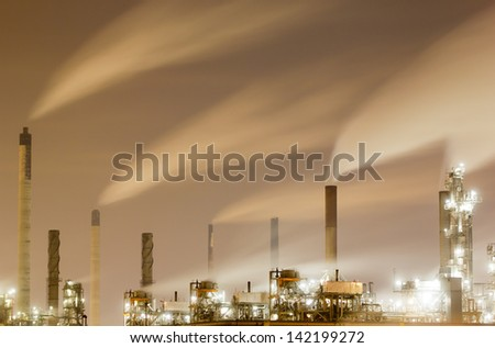 Overview of a large oil-refinery plant at night