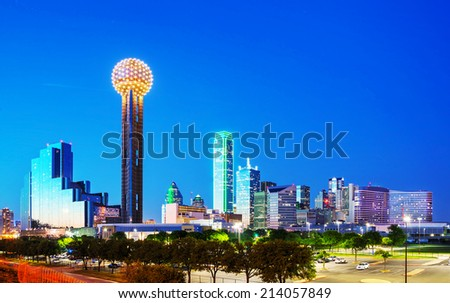 Overview of downtown Dallas in the night stock photo