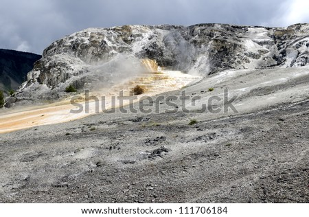 overview of Mammoth Hot Springs in Yellowstone National Park in Wyoming in the United States of America