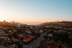 Overview of Renaca town near of Vina del Mar, Chile on a beautiful sunset
