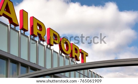 Overview of Rotterdam Airport in the Netherlands #765061909