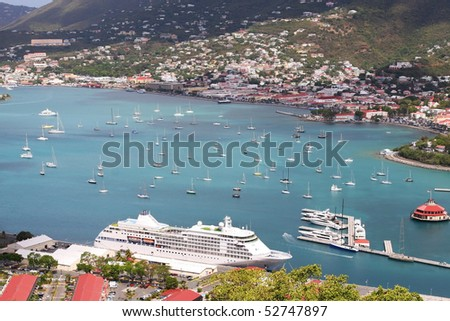 overview of St. Thomas port, Charlotte Amalie
